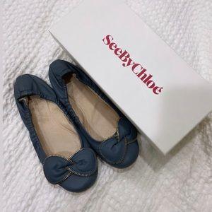 See By Chloe Lentella Bow Zipper Flats in Blue